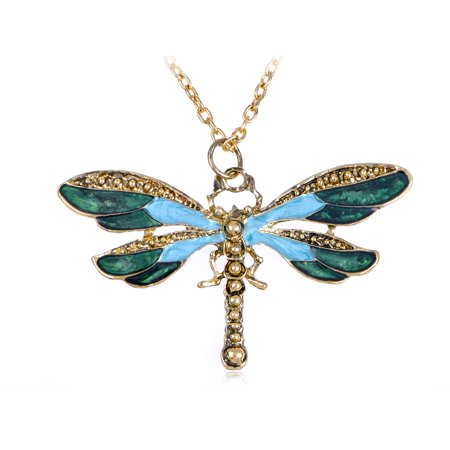 Painted Wing Dragonfly Antique   Blue Green Brass Tone Pendant Necklace