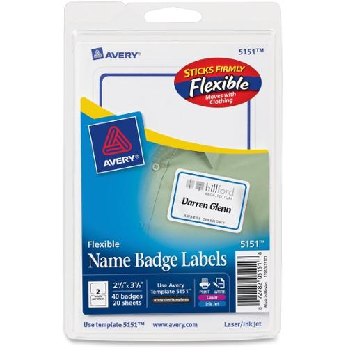 "Avery Blue Border Name Badge Label - Removable Adhesive - ""2.34"" Width x 3.37"" Length - 2 / Sheet - Rectangle - Inkjet,"