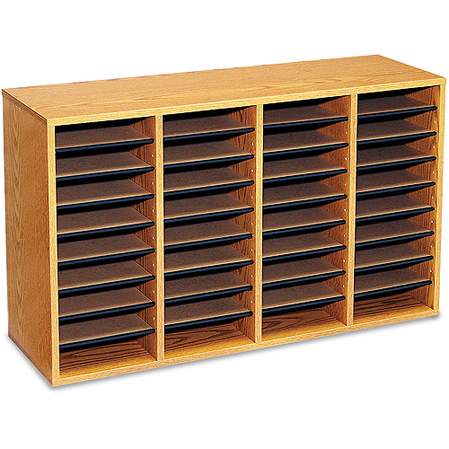 Safco Wood/Laminate Literature Sorter, 36 Sections, 39 1/4 x 11 3/4 x 24, Medium Oak