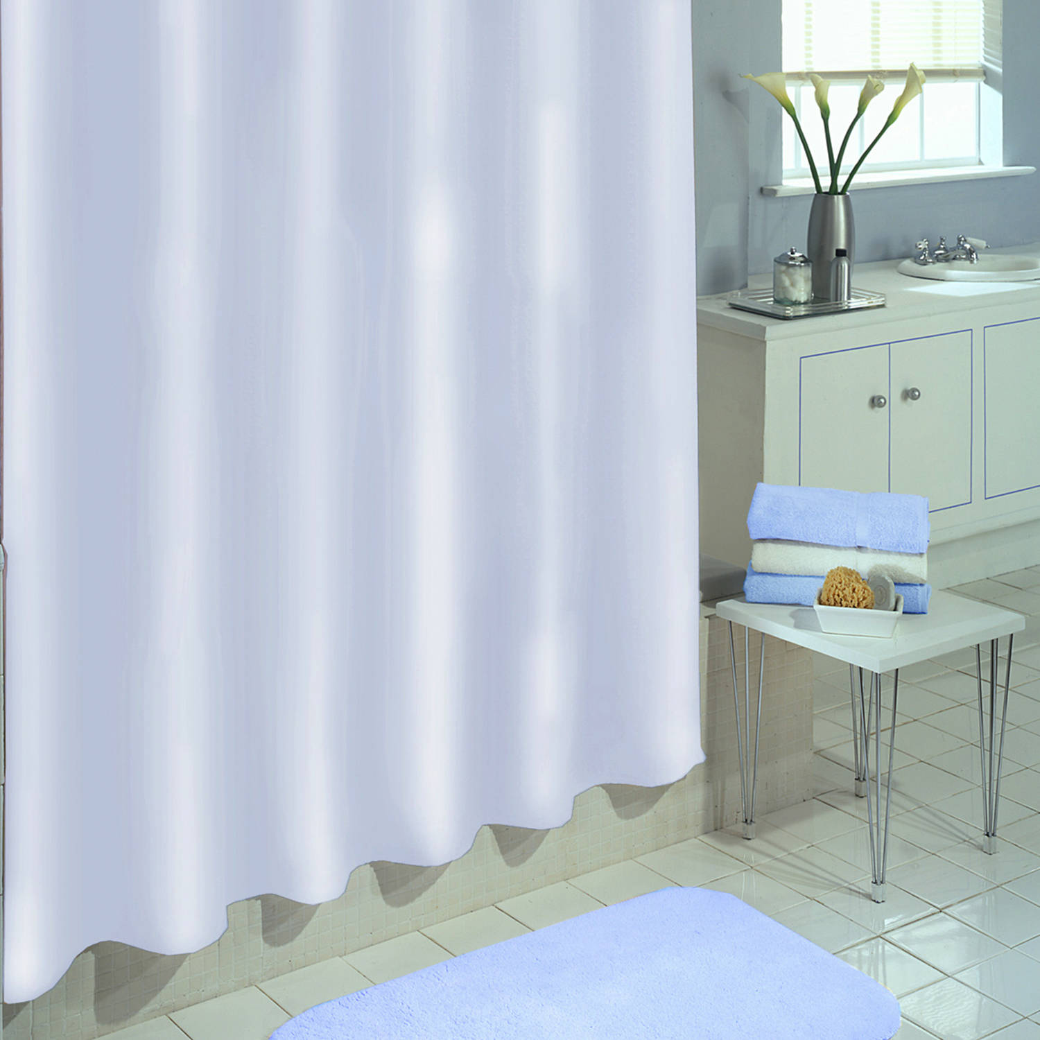"Excell Medium-Weight Eco-Friendly 100 percent PEVA Shower Curtain Liner, Anti Mildew, 70"" x 72"", White"