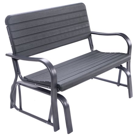 Costway Outdoor Patio Swing Porch Rocker Glider Bench Loveseat Garden Seat Steel