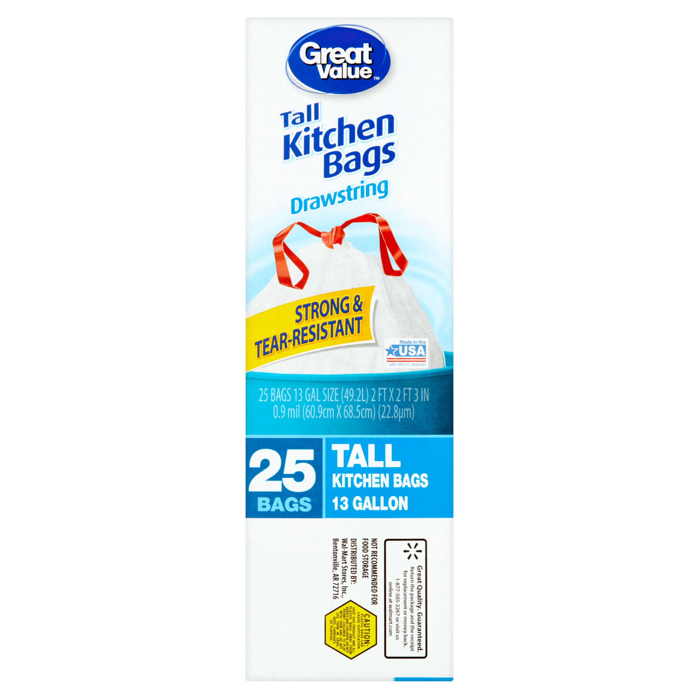 Great Value Tall Kitchen Drawstring Trash Bags, 13 Gallon, 25 Count ...