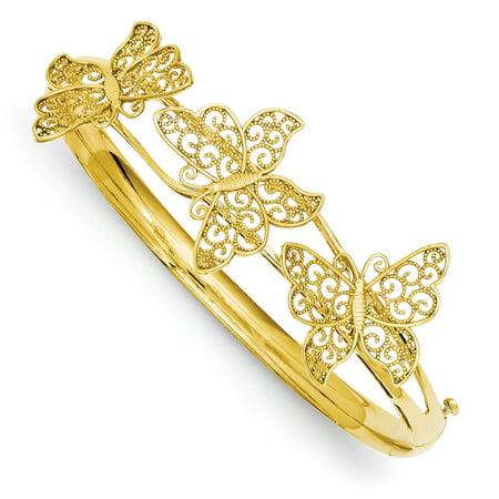 Prince Gold Bangles - 14k Yellow Gold Butterfly Bangle Bracelet - 10.4 Grams