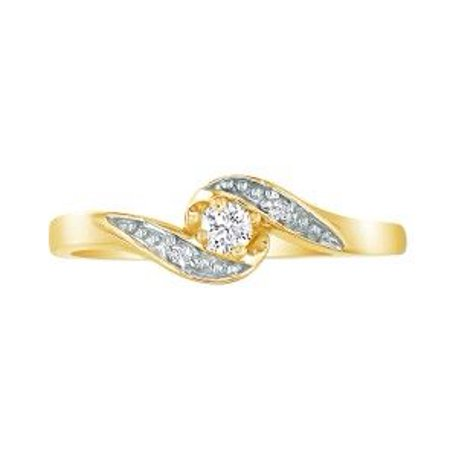 Bypass .08ct Diamond Promise Ring in 10k Yellow Gold Size 4.5