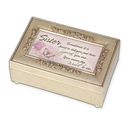 Woodgrain Champ  Silver Petite Rose Sister Music Box   Perfect Sister Gift