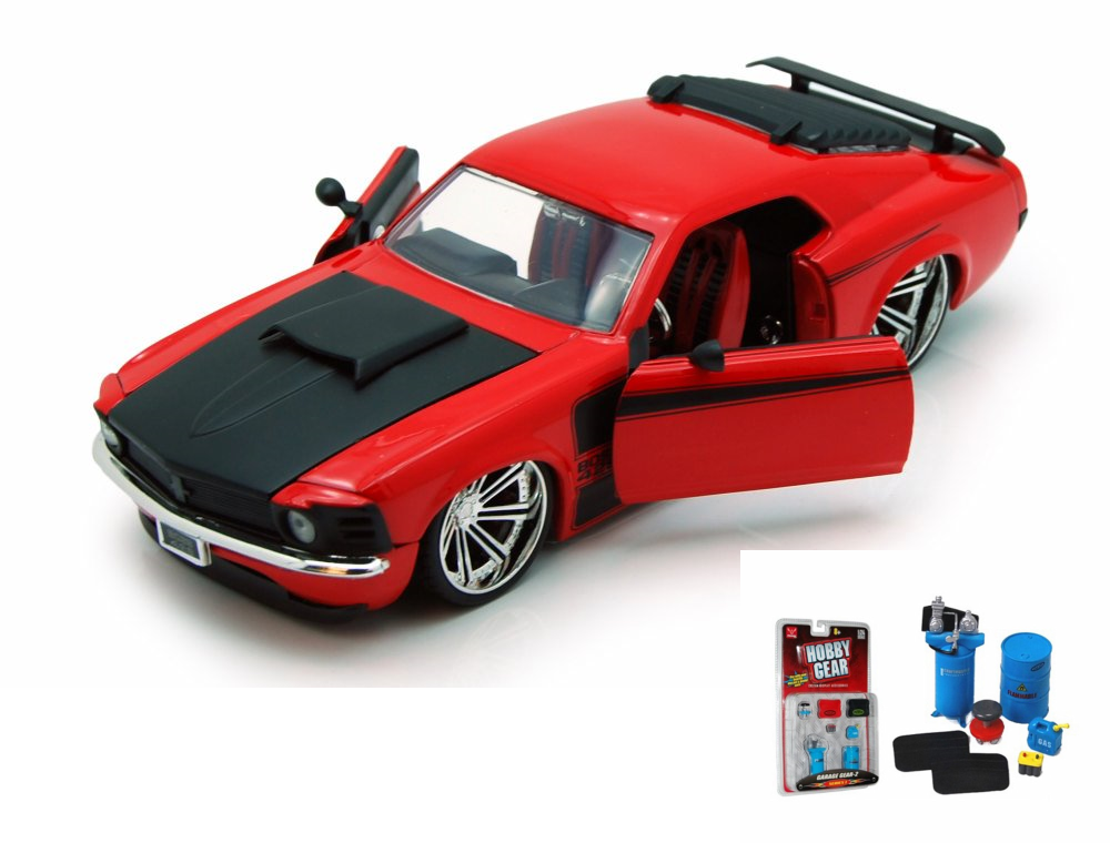 Diecast Car & Garage Diorama Package 1970 Ford Mustang Boss 429, Red Jada Toys 90211 1 24... by ModelToyCars