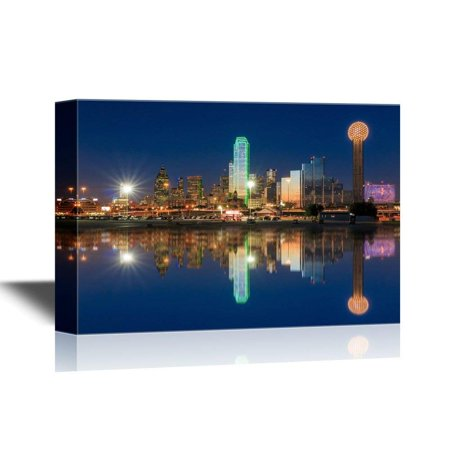 wall26 USA City Skyline Canvas Wall Art - Dallas Skyline Reflected in Trinity River at Sunset, Texas - Gallery Wrap Modern Home Decor | Ready to Hang - 24x36 inches