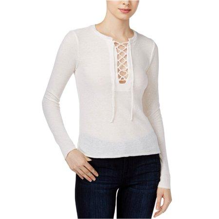 White Box Chelsea (CHELSEA SKY Womens White Tie Textured Long Sleeve V Neck Top  Size: L)