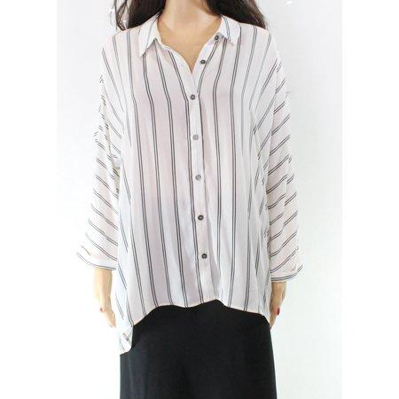 aaaed0d3d35e1 DR2 Tops   Blouses - DR2 Black Stripe Cold-Shoulder Large Buttoned Shirt -  Walmart.com