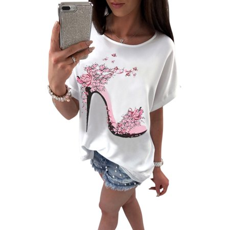 Funny T-shirts for Women High Heels Printed Summer Cotton T Shirt Ladies Tops Tees Short Sleeve Blouse