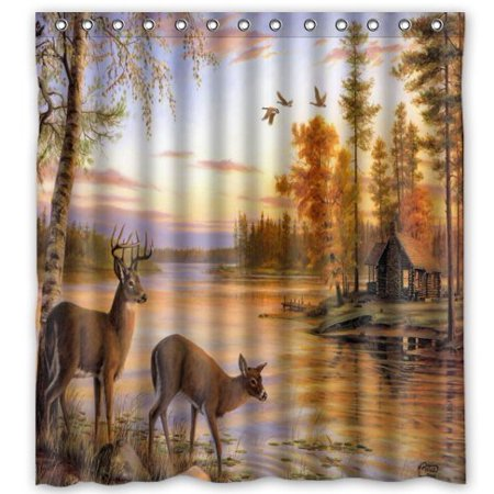 GreenDecor Deer Water Waterproof Shower Curtain Set With Hooks Bathroom Accessories Size 66x72 Inches