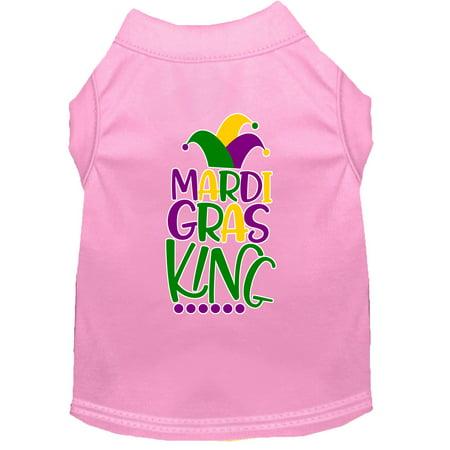 Mardi Gras King Screen Print Mardi Gras Dog Shirt Light Pink Sm