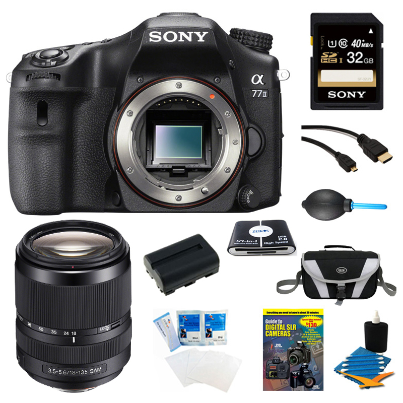 Sony a77II 24.3MP HD 1080p DSLR Camera and 18-135mm Lens ...