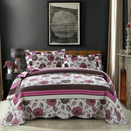 DaDa Bedding Bohemian Chrysanthemum Vines Reversible Patchwork Quilted Coverlet Bedspread Set - Bordered Bright Vibrant Floral Hot Pink Purple & Brown Print Motif - Queen - 3-Pieces