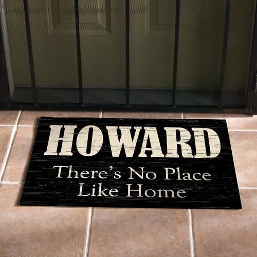"""Personalized """"No Place Like Home"""" Doormat, Black, 24"""" x 36"""""""