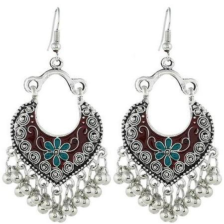 Fancyleo 1 Pair Womens  Vintage Engraved Antique Drop Dangle Earrings Bohemian Tassel Earring for Girls