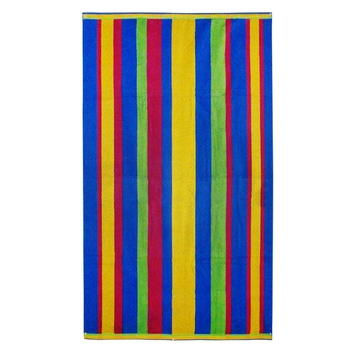 Textiles Plus Inc. Stripe Cotton Blue Rainbow Beach Towel