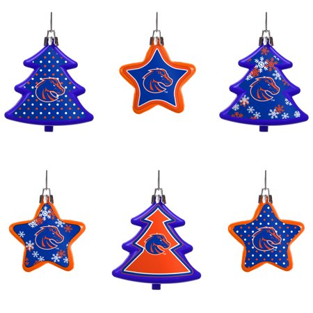 Boise State Broncos Six Pack Shatterproof Tree And Star Ornament Set N