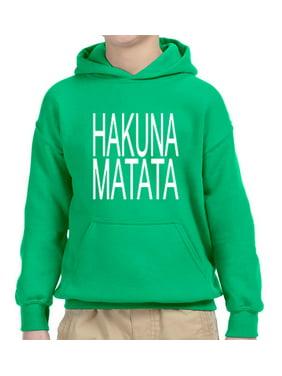 Trendy USA 435 - Youth Hoodie Hakuna Matata The Lion King Simba Timon Pumbaa Unisex Pullover Sweatshirt Small Charcoal
