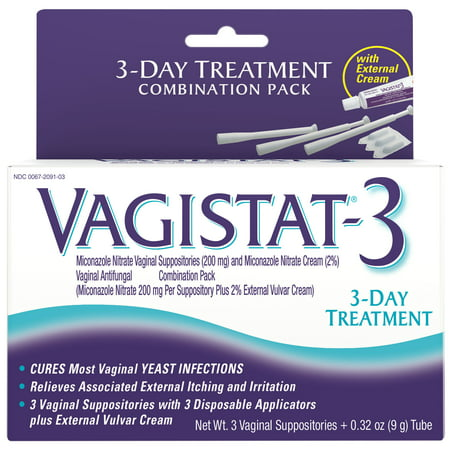 Vagistat - 3 Day Treatment for Yeast Infections, 3 Suppositories (Miconazol Nitrate 200mg Suppositories plus 2% External