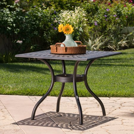 Atlanta Outdoor Cast Aluminum Square Dining Table, Shiny Copper Finish ()