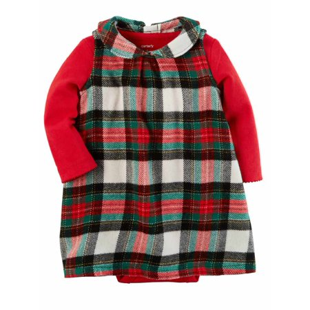 Infant Girls Red & Black Plaid Holiday Baby Outfit Bodysuit & Leggings Set