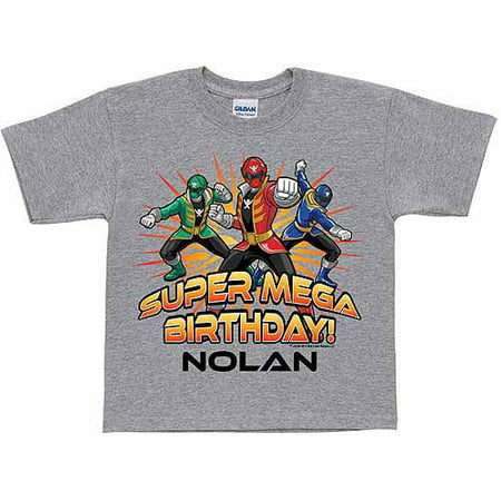 Personalized Power Rangers Super Mega Birthday Boys T Shirt Gray