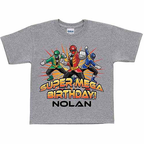 Personalized Power Rangers Super Mega Birthday Boys' T-Shirt, Gray