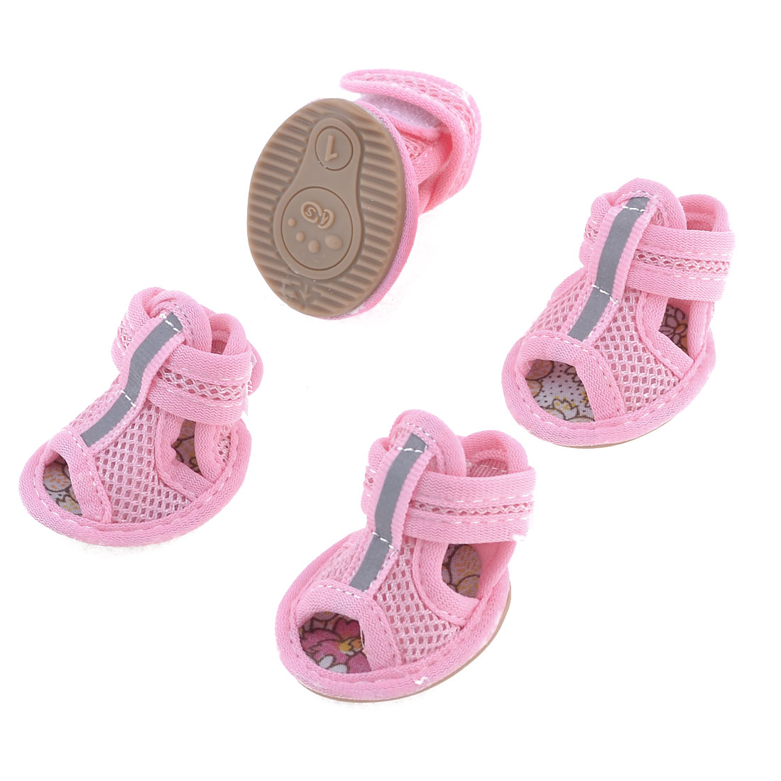 2 Pairs Rubber Sole Pink Mesh Sandals Yorkie Chihuaha Dog Shoes Size XXS