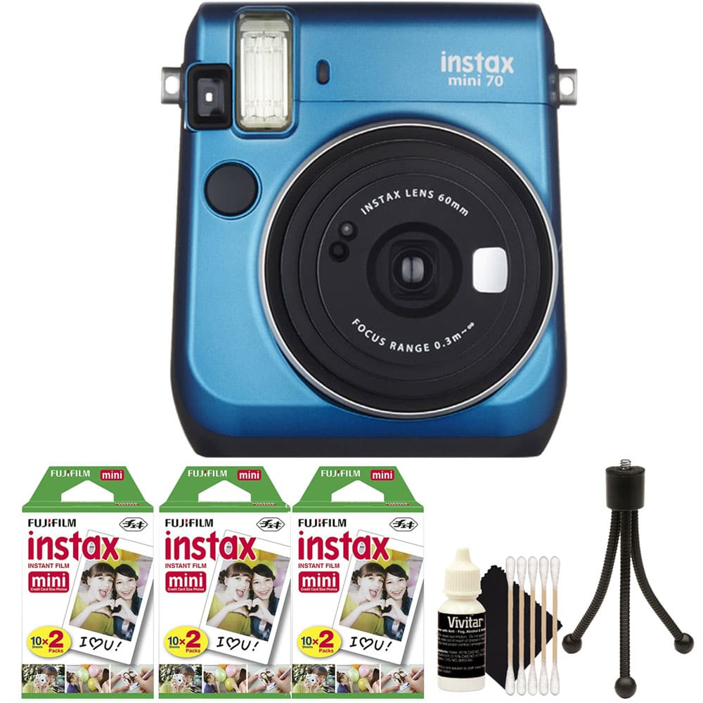 FujiFilm Instax Mini 70 Instant Film Camera with 60 Film + Cleaning Kit Blue by Teds
