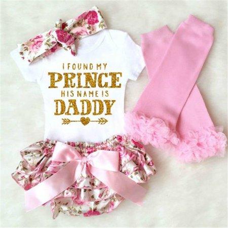 4PCS Newborn Baby Girls Romper+ Floral Shorts Dress+Leg Warmer+ Headband Outfits