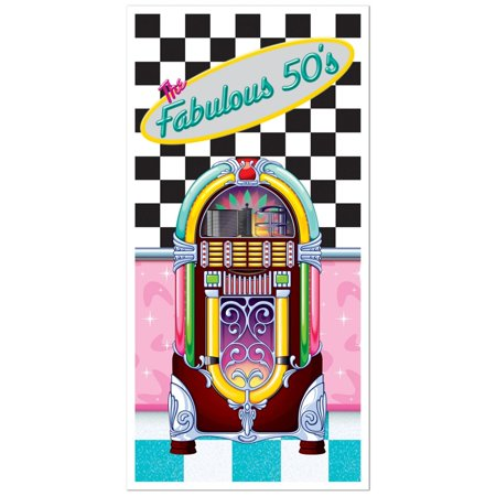 "Club Pack of 12 Multi-Colored Retro Themed ""The Fabulous 50's"" Door Cover Party Decorations 5'"