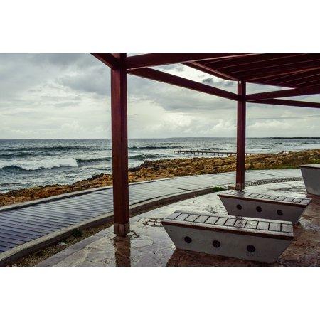 LAMINATED POSTER Beach Architecture Sea Rainy Day Kiosk Bench Poster Print  11 x 17