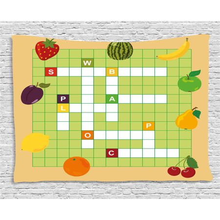 Word Search Puzzle Tapestry Vivid Graphic Summer Fruits