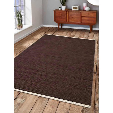 Rugsotic Carpets Hand Woven Flat Weave Kilim Wool 3'x5' Area Rug Solid Dark Brown D00111 ()