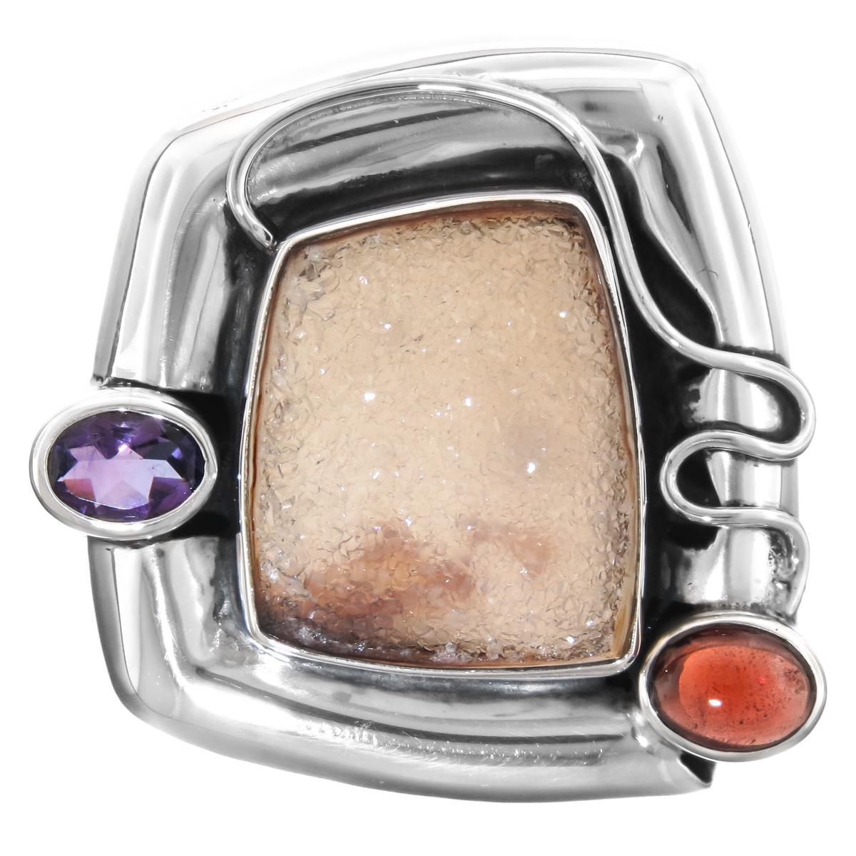 "Agate Druzy Amethyst Garnet 925 Sterling Silver Sliding Pendant, 1 7/16"""