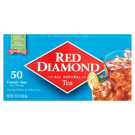 Pekoe Black Tea - (6 Boxes) Red Diamond Orange Pekoe & Pekoe Tea Quart Tea Bags Family Size, 50 count, 12.5 oz