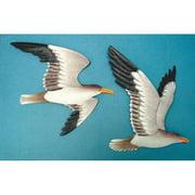 2 Metal Seagull Wall Plaques Soaring Birds Nautical Home Decor Flying Shore Bird