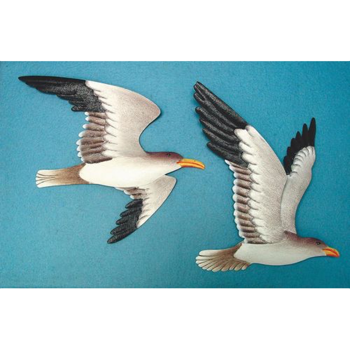 2 Metal Seagull Wall Plaques Soaring Birds Nautical Home Decor Flying Shore Birds