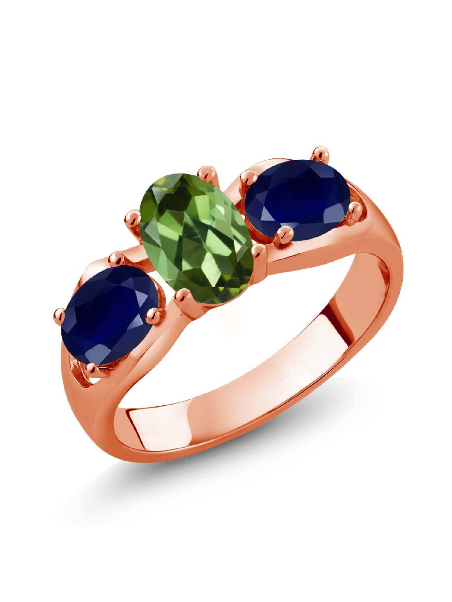 1.80 Ct Oval Green Tourmaline Blue Sapphire 18K Rose Gold Plated Silver Ring by