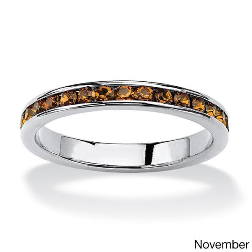 PalmBeach Round Birthstone Stackable Eternity Band in Sterling Silver Color Fun Size 5 - November - Simulated Citrine