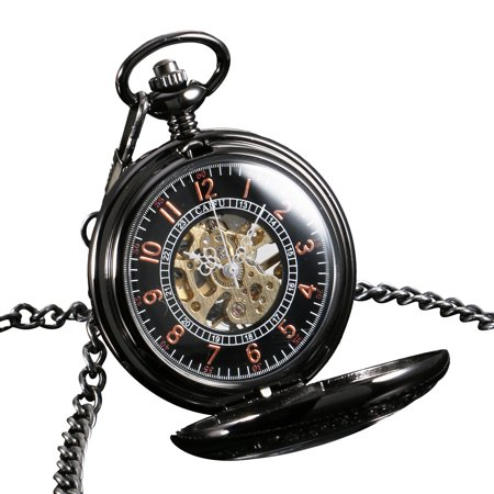 - Hand Winding Mechanical Mens Pocket Watch Gold Black Stainless Steel Case  Gift