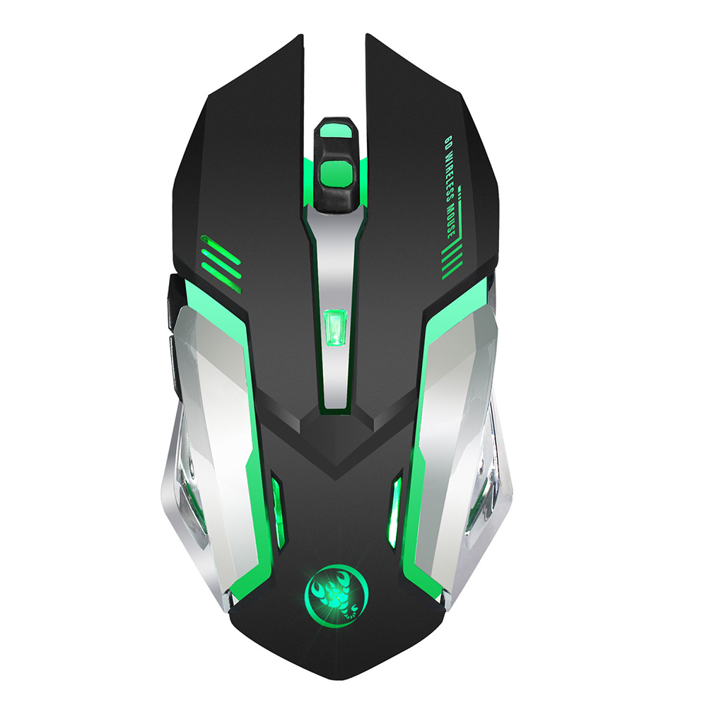 HXSJ M10 Gaming Wireless Mouse 2400 DPI Rechargeable 7 color 6 Backlight Breathing Ergonomic Mouse for Computer Desktop Laptop