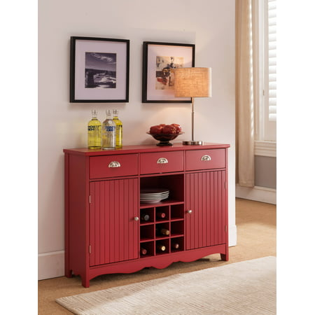 Red Wood Contemporary Wine Rack Sideboard Buffet Display Console