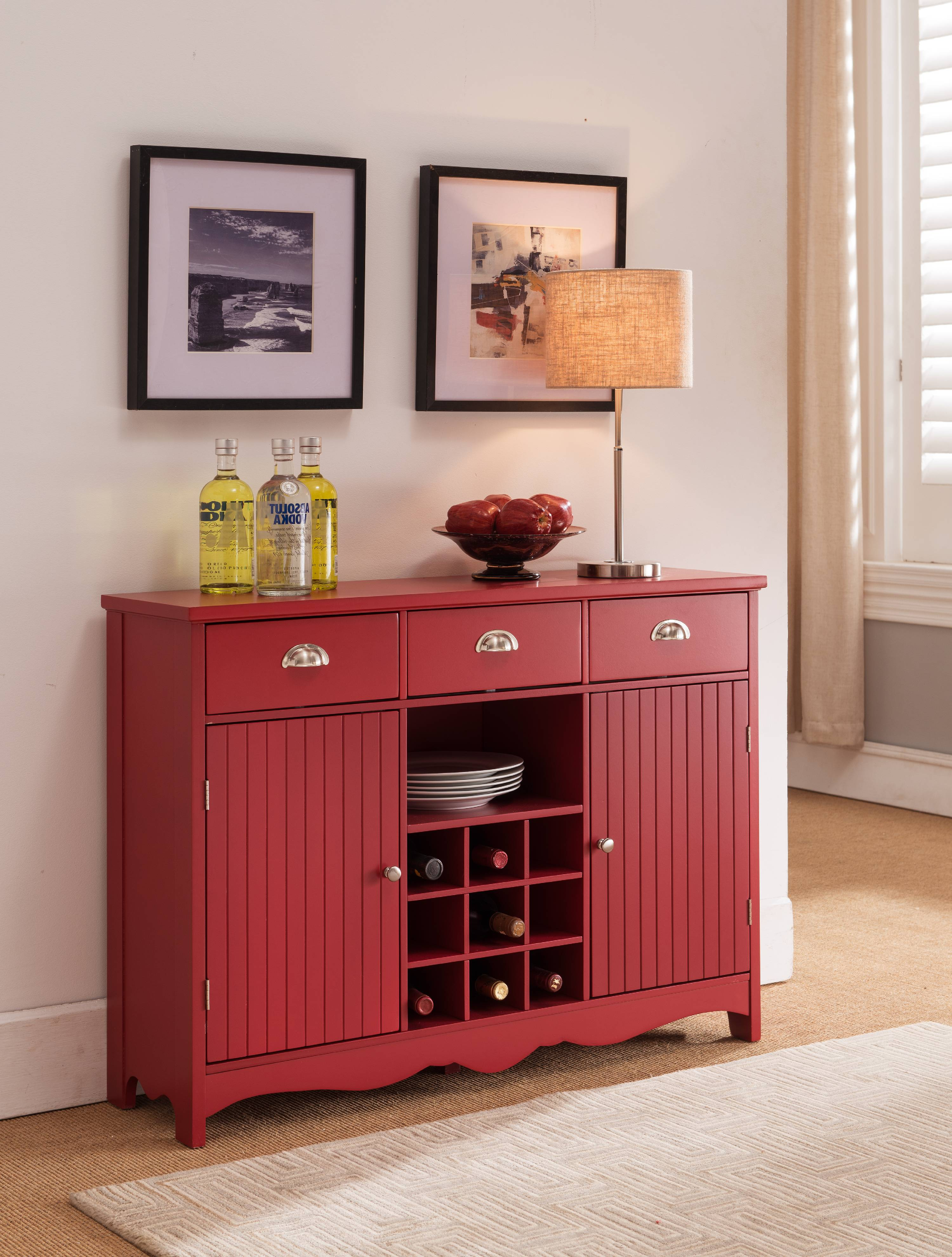 Red Wood Contemporary Wine Rack Sideboard Buffet Display Console Table With  Storage Drawers, Glass Cabinet Part 85