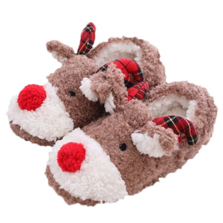 slippers for women coxeer christmas slippers anti skid 3d reindeer cute warm winter shoes