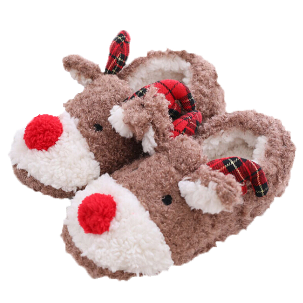Slippers for Women, Coxeer Christmas Slippers Anti-skid 3D Reindeer Cute Warm Winter Shoes House Slippers