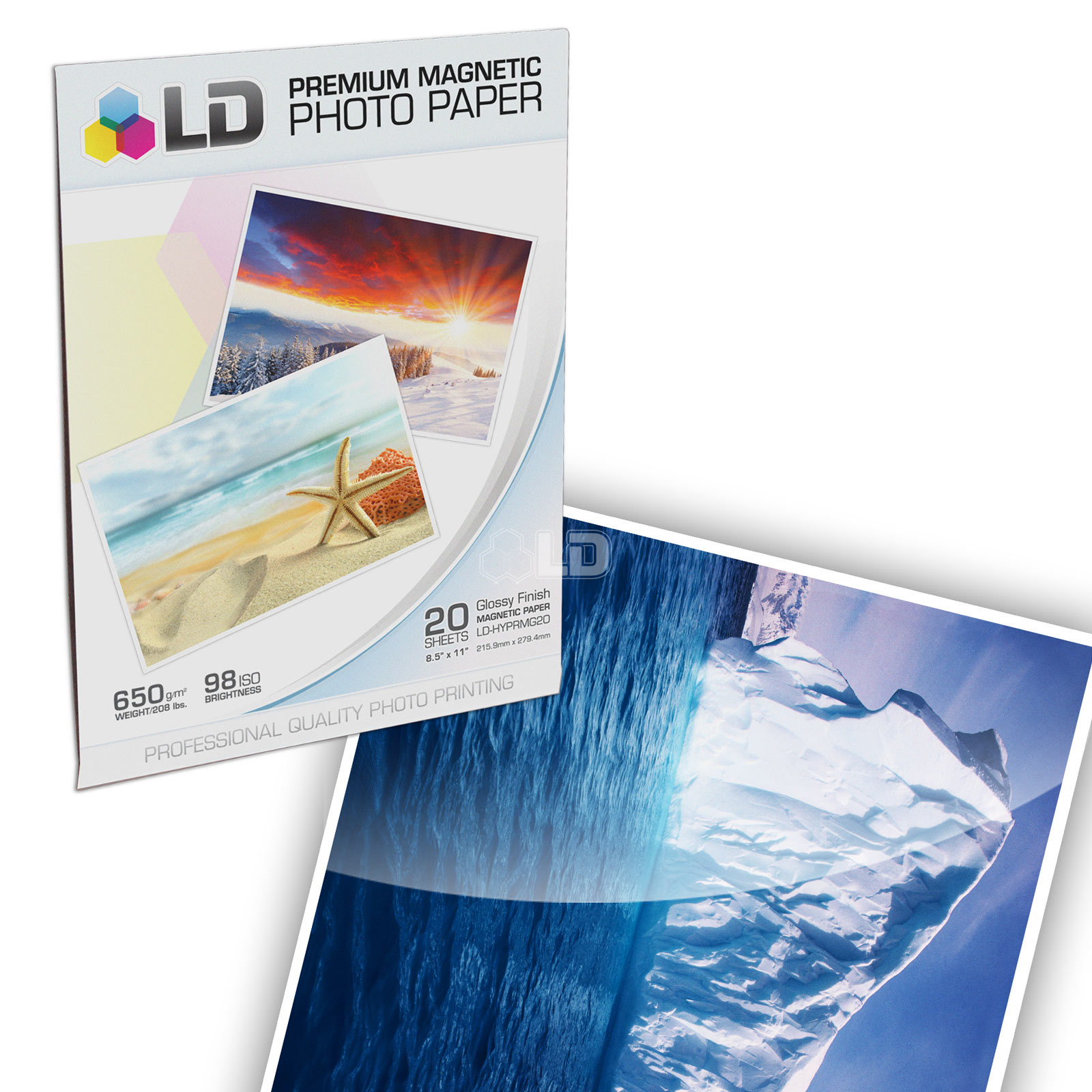 LD Glossy Inkjet Magnetic Photo Paper  8.5x11 (20 Sheets)