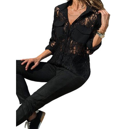 - Women Long Sleeve V Neck Button Down Lace Shirts Tops Pockets Hollow Out Blouses