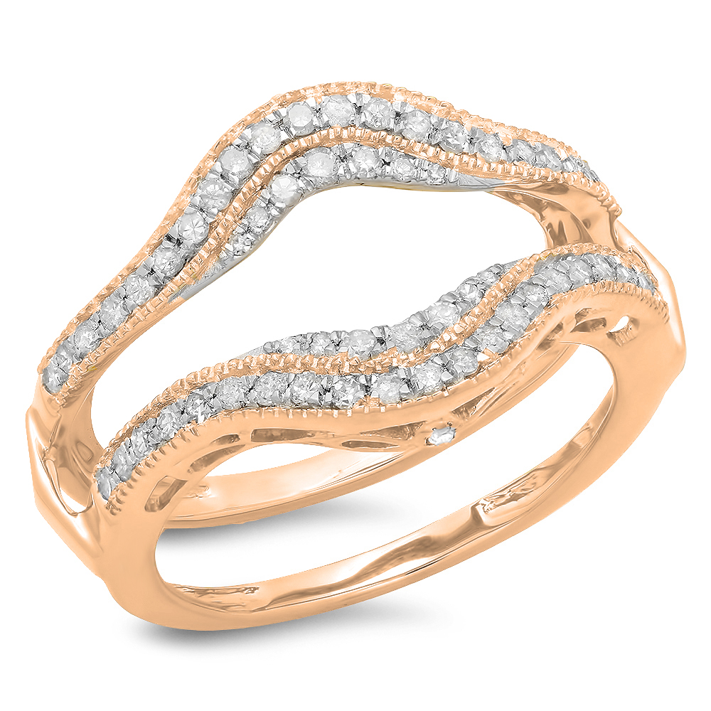 0.52 Carat (ctw) 18K Rose Gold White Diamond Ladies Anniversary Wedding Band Enhancer Guard Double Ring 1/2 CT